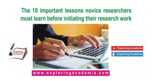 The 10 important lessons novice researchers must learn before initiating their research work
